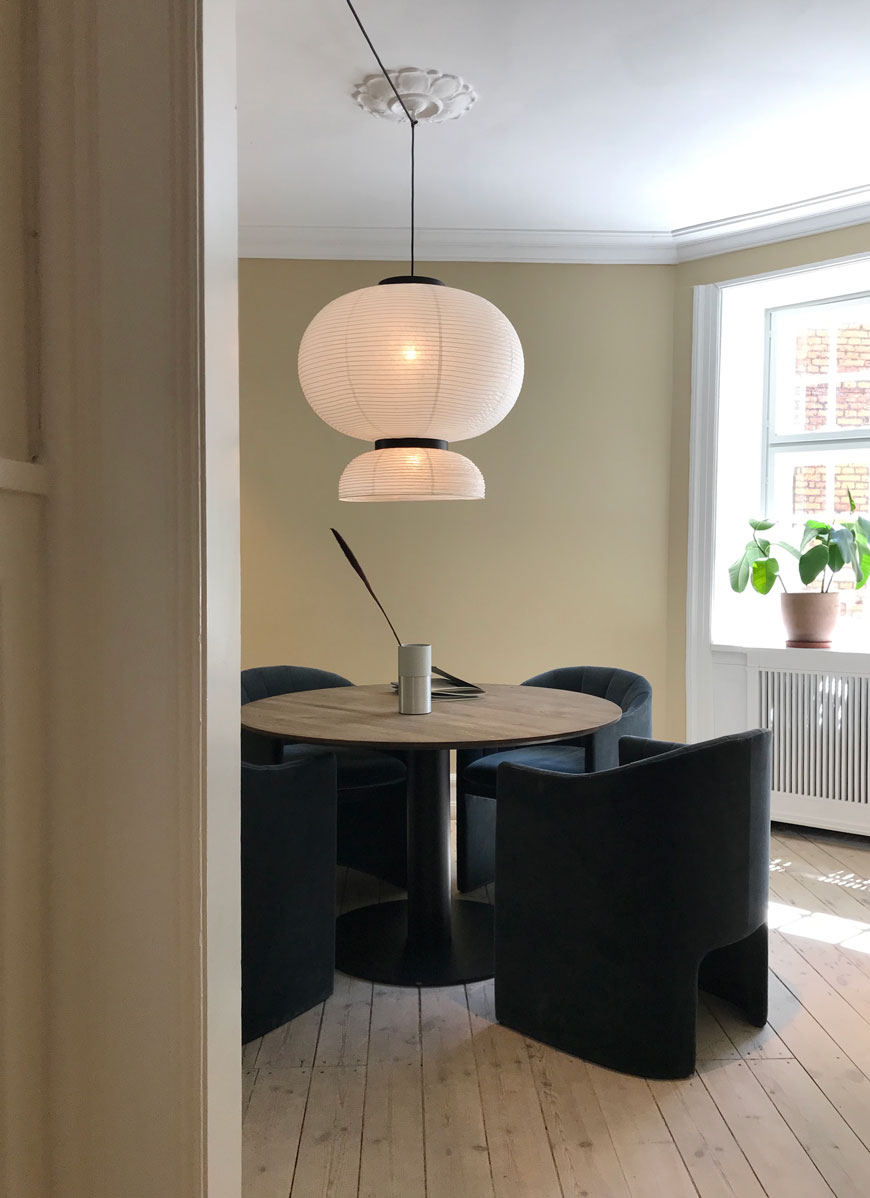 Looking into a contemporary Nordic dining room at the &Tradition showroom at 3daysofdesign