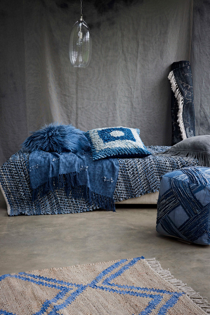 A styled collection of blue home accessories made from recycled materials from French Connection's Autumn-Winter 19 collection.