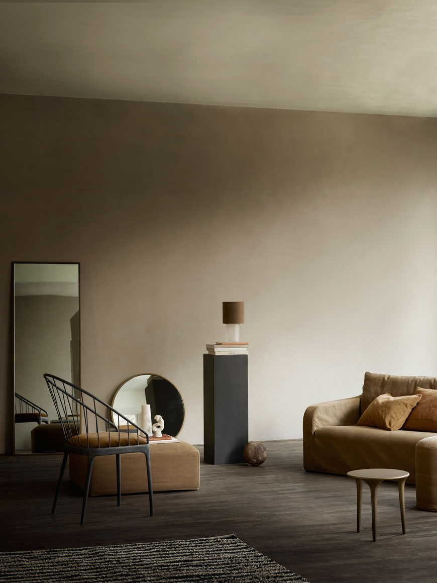 Moody and expressive sandy lime painted walls set the scene for the Tine K Home Autumn-Winter collection.