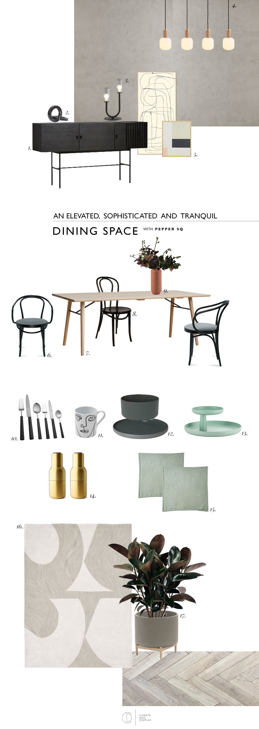 A visual moodboard of an elevated, sophisticated and tranquil dining room with Nordic influences and touches of pale green.