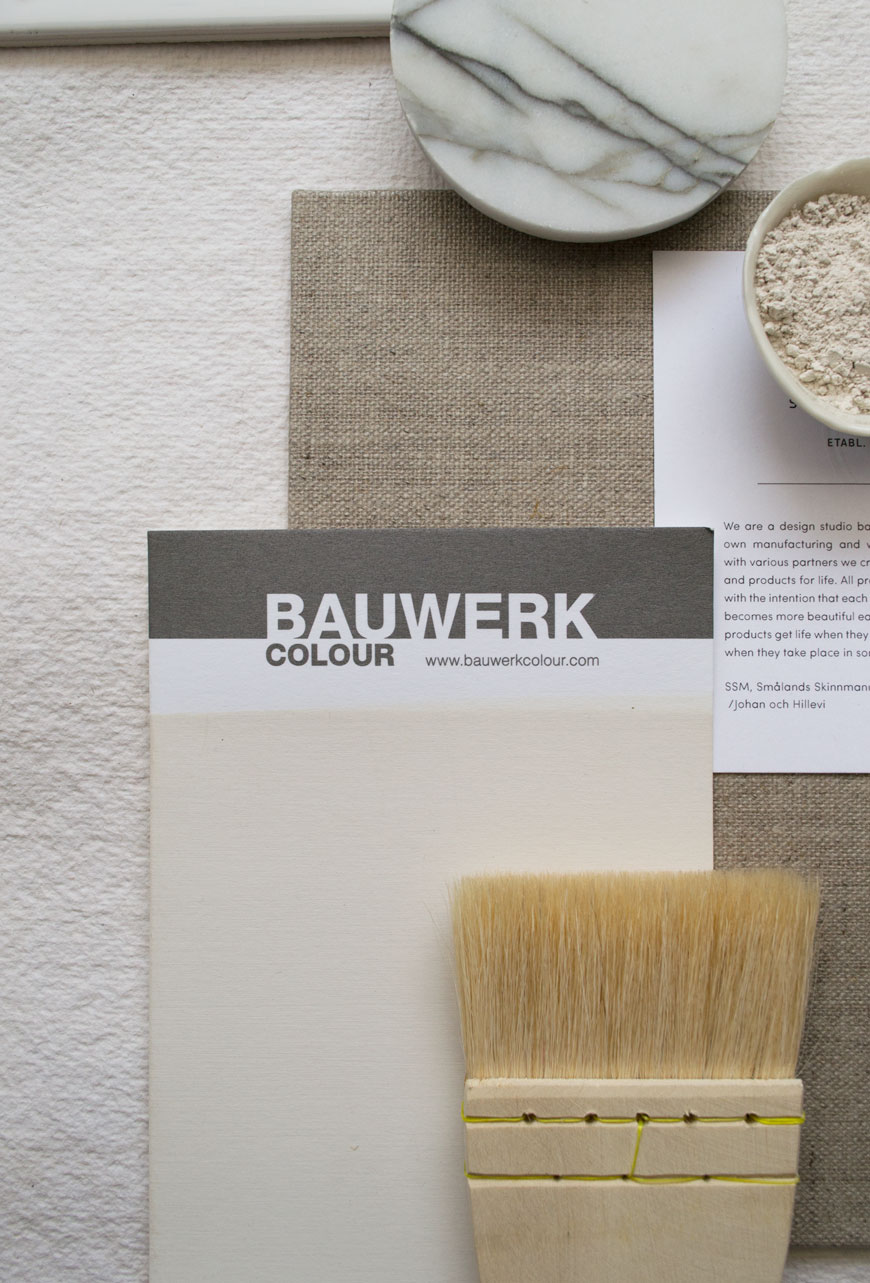 A Mykonos colour swatch from the Bauwerk Colour limewash paint collection, styled within a moodboard.