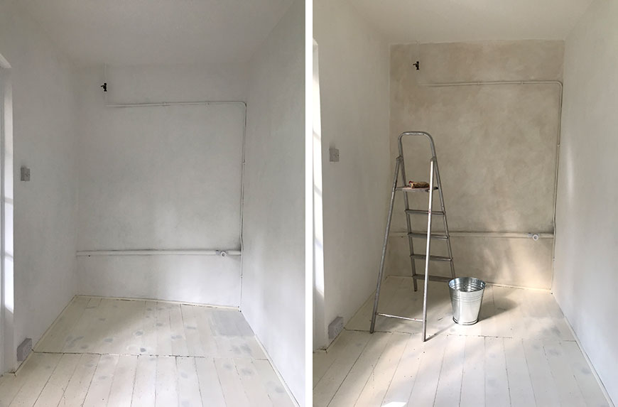 A limewash before and after comparison of my workspace walls during decoration.