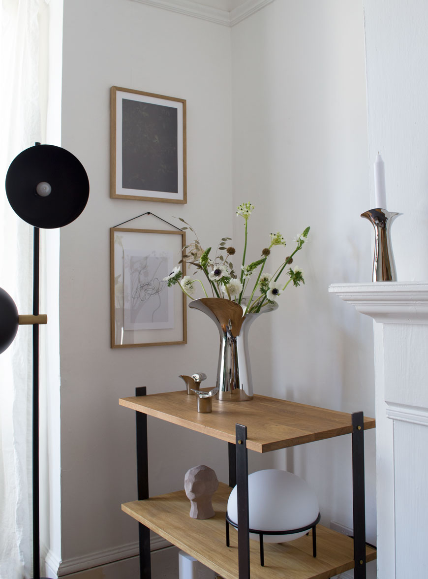 Minimal Scandinavian spring styling in a bright, white living space with the Georg Jensen Bloom Botanica collection.