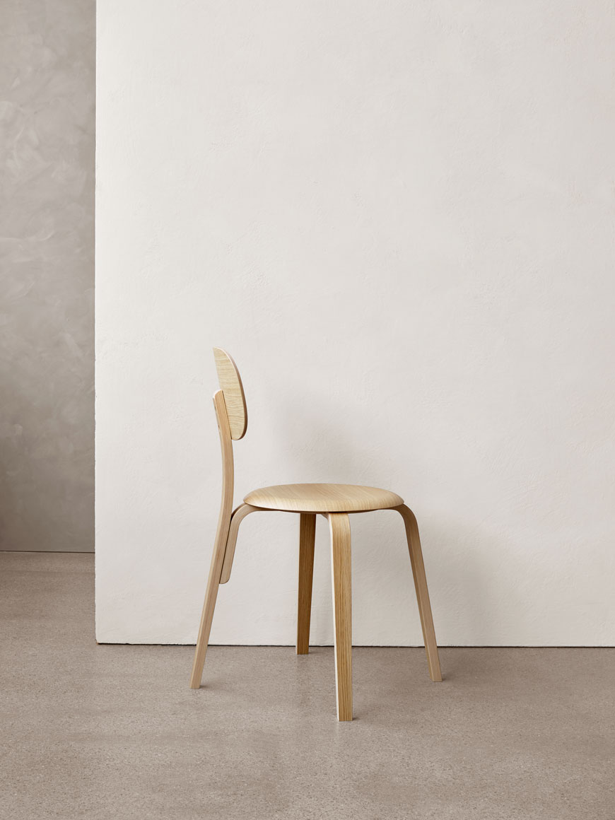 An update on MENU's first dining chair, the Afteroom chair, the latest addition has been created in plywood which gives the chair a soft, curved aesthetic.