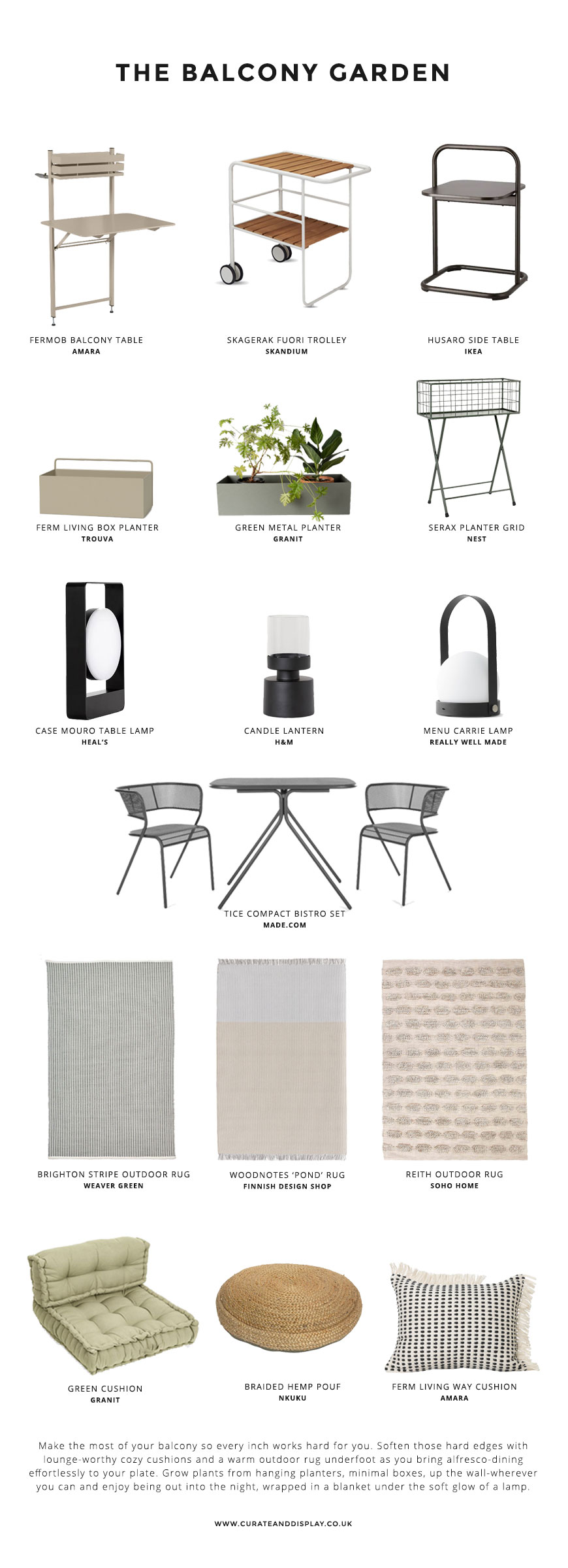 A Nordic garden style shopping page featuring the best contemporary  Scandinavian furniture for small balcony spaces.