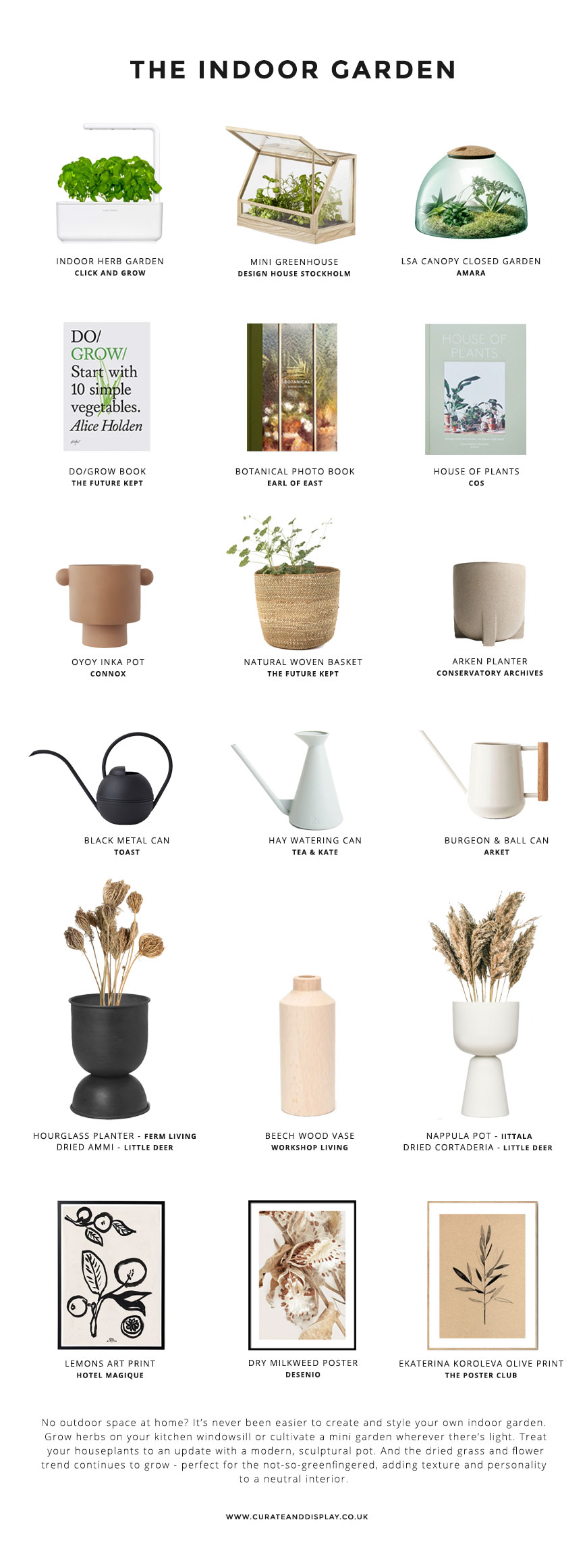 A Nordic garden style shopping page featuring botanical books and prints as well as modern, sculptural planters, vases and mini gardens.